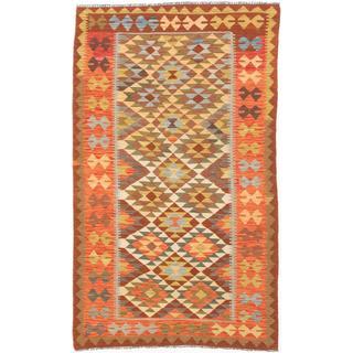 ecarpetgallery Handmade Anatolian Beige and Brown Wool Kilim Rug (5'1 x 8'7)