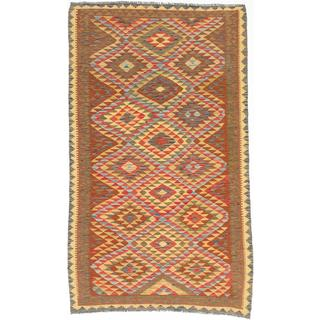 ecarpetgallery Handmade Hereke Orange and Yellow Wool Kilim Rug (5'1 x 8'3)