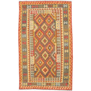 ecarpetgallery Handmade Anatolian Brown and Red Wool Kilim Rug (5'1 x 8'6)