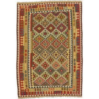 ecarpetgallery Handmade Kashkoli Orange and Red Wool Kilim Rug (5'9 x 8'3)