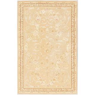 ecarpetgallery Handmade Savonnerie HT Beige Wool Rug (5'3 x 8'3)