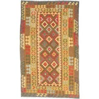 ecarpetgallery Handmade Kashkoli Green and Red Wool Kilim Rug (5'1 x 8'5)