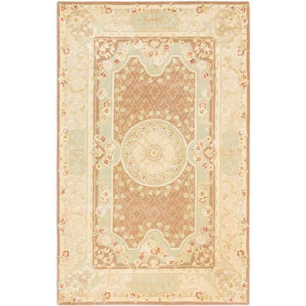 ecarpetgallery Handmade Savonnerie HT Brown Wool Rug (5'3 x 8'3)