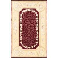 ecarpetgallery Handmade Savonnerie HT Red Wool Rug (5'3 x 8'3)