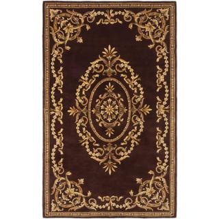 ecarpetgallery Handmade Elegance Brown Wool Rug (5' x 8')
