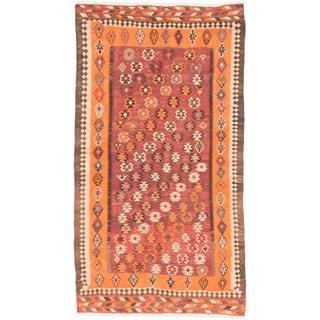 ecarpetgallery Handmade Persian Kashkuli Orange Wool Kilim Rug (5'1 x 9'2)