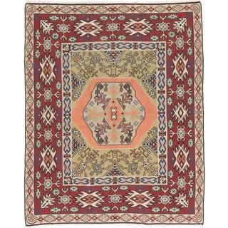 ecarpetgallery Handmade Persian Senneh Green and Orange Wool Kilim Rug (7'10 x 9'10)