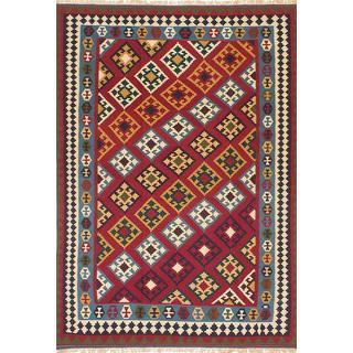 ecarpetgallery Handmade Persian Qashqai Red Wool Kilim Rug (6'9 x 9'9)