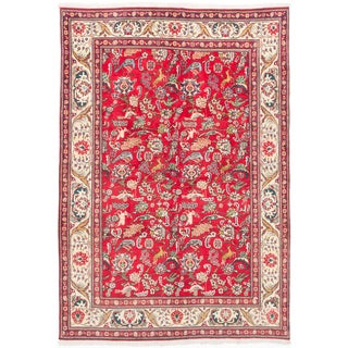 ecarpetgallery Hand-knotted Persian Tabriz Red Wool Rug (6'6 x 9'4)