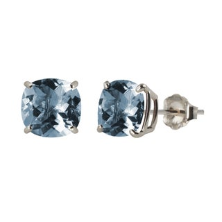 Sterling Silver 8mm Checkerboard Cushion Lab-created Aquamarine Stud Earrings