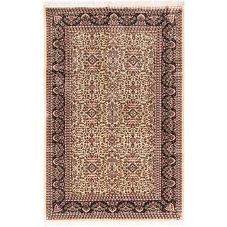 ecarpetgallery Hand-knotted Kashmir Beige Silk Rug (6' x 9'4)