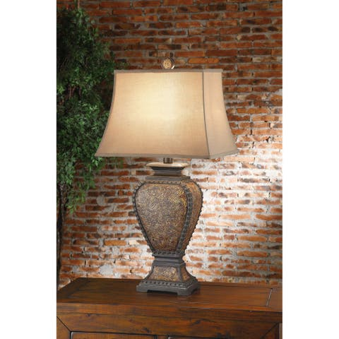 Tooled Leather 32-inch Table Lamp