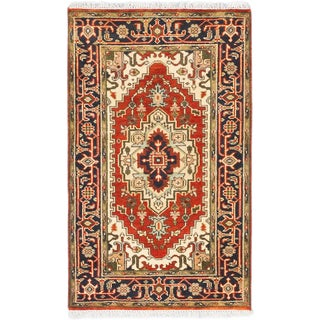 ecarpetgallery Hand-knotted Serapi Heritage Brown Wool Rug (3' x 4'10)