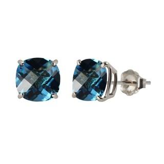 Sterling Silver 8mm Checkerboard Cushion Swiss Blue Topaz Stud Earrings