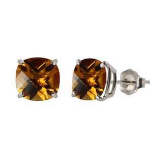 Sterling Silver 8mm Checkerboard Cushion Citrine Stud Earrings