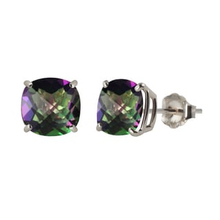 Sterling Silver 8mm Checkerboard Cushion Mystic Topaz Stud Earrings