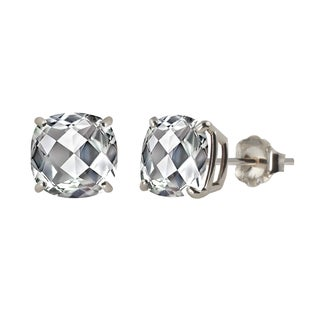 Sterling Silver 8mm Checkerboard Cushion Genuine White Topaz Stud Earrings