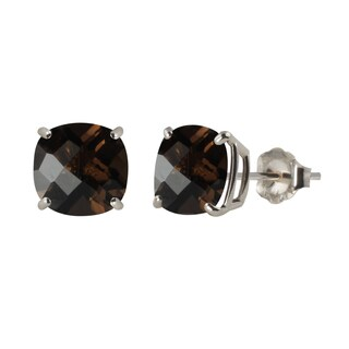 Sterling Silver 8mm Checkerboard Cushion Smoky Quartz Stud Earrings