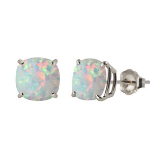 Sterling Silver 8mm Checkerboard Cushion Lab-created Opal Stud Earrings - White