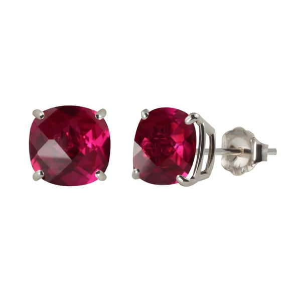 Sterling Silver 8mm Checkerboard Cushion Lab Created Ruby Stud Earrings