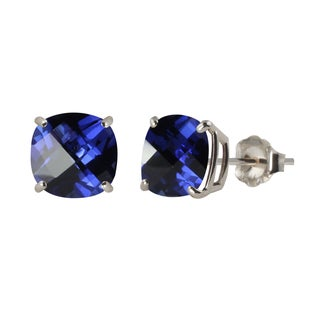 Sterling Silver 8mm Checkerboard Cushion Lab-created Blue Sapphire Stud Earrings