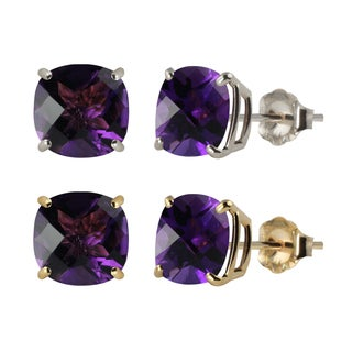 10k White or Yellow Gold 8mm Checkerboard Cushion Amethyst Stud Earrings