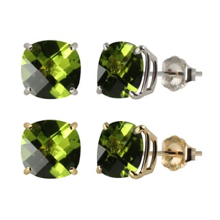 10k White or Yellow Gold 8mm Checkerboard Cushion Peridot Stud Earrings