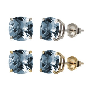 10k White or Yellow Gold 8mm Checkerboard Cushion Lab-created Aquamarine Stud Earrings