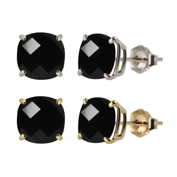 10k White Or Yellow Gold 8mm Checkerboard Cushion Black Onyx Stud Earrings