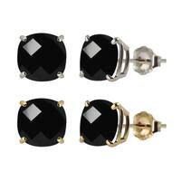 10k White or Yellow Gold 8mm Checkerboard Cushion Black Onyx Stud Earrings
