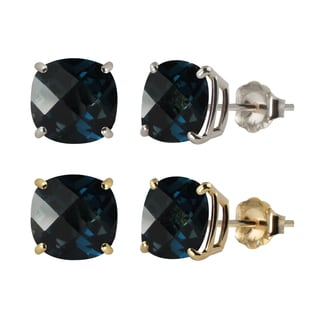 10k White or Yellow Gold 8mm Checkerboard Cushion London Blue Topaz Stud Earrings
