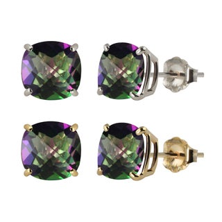 10k White or Yellow Gold 8mm Checkerboard Cushion Mystic Topaz Stud Earrings