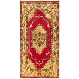 ecarpetgallery Hand-knotted Anadol Vintage Red and Yellow Wool Rug (5'10 x 10'6)