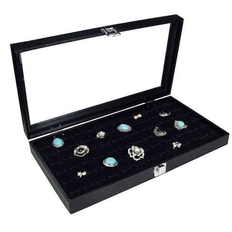 Glass Top Case with 72 Rings Slot Foam, 14 3/4''W x 8 1/4''D x 2 1/8''H