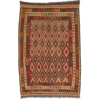 ecarpetgallery Handmade Anatolian Orange and Red Wool Kilim Rug (6'7 x 10'2)