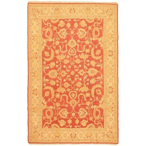 ecarpetgallery Handmade Chobi Beige and Pink Wool Sumak Rug (6'6 x 10'2) - 6'6 x 10'2