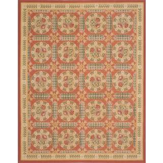 ecarpetgallery Handmade French Tapestry Pink Wool Sumak Rug (7'10 x 10'2)