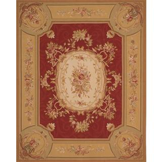 ecarpetgallery Handmade French Tapestry Brown and Red Wool Sumak Rug (8' x 10')