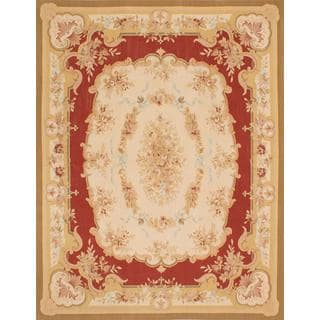 ecarpetgallery Handmade French Tapestry Beige and Red Wool Sumak Rug (7'11 x 10'3)