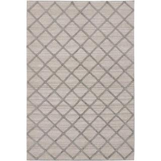 ecarpetgallery Handmade Diamond Beige and Grey Wool Art Silk Kilim Rug (8' x 10')