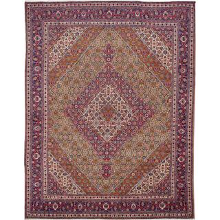 ecarpetgallery Hand-knotted Persian Tabriz Blue and Yellow Wool Rug (10' x 11'9)