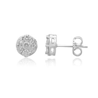 14k White Gold 1/2ct TDW Diamond Round Composite Stud Earrings