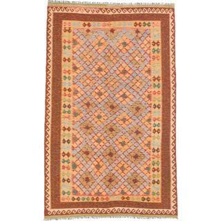 ecarpetgallery Handmade Kashkoli Orange and Yellow Wool Kilim Rug (6'2 x 10'8)