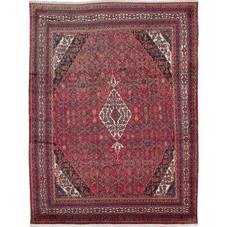 ecarpetgallery Hand-knotted Persian Hamadan Red Wool Rug (10'4 x 13'9)