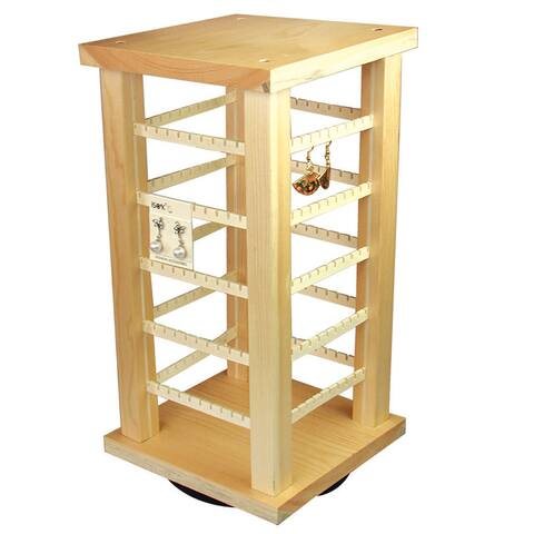 Wooden Rotating Earring Display, 7 3/8'' x 7 3/8'' x 15''H