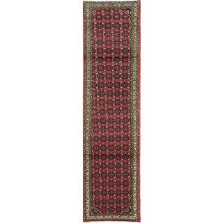 ecarpetgallery Hand-knotted Persian Roodbar Red Wool Rug (2'4 x 9'1)