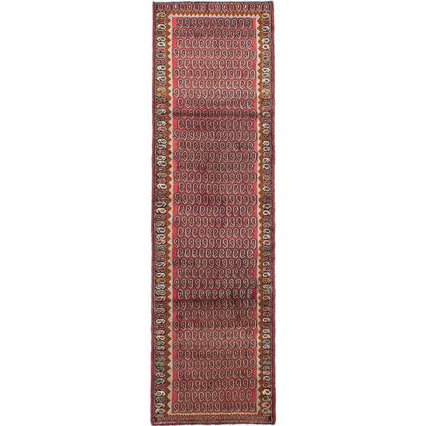 ecarpetgallery Hand-knotted Persian Roodbar Red Wool Rug - 2'8 x 9'5