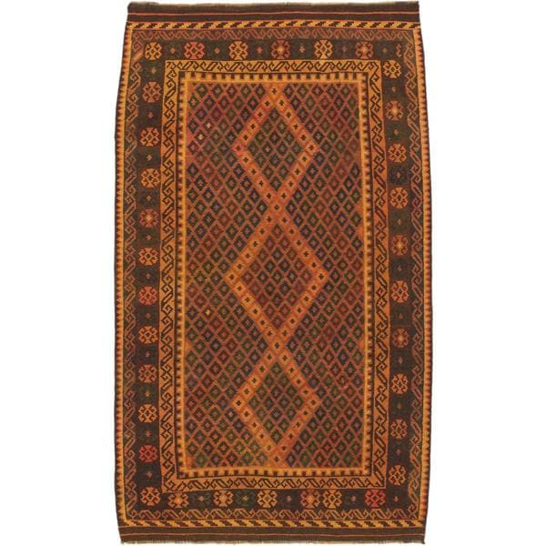 ecarpetgallery Handmade Sivas Brown Wool Kilim Rug (5' x 8'7)