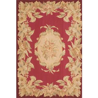 ecarpetgallery Handmade French Tapestry Red Wool Sumak Rug (6' x 9')