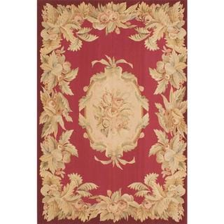 Hand Woven French Tapestry Red Wool Tapestry Kilim - 6'0 x 9'0